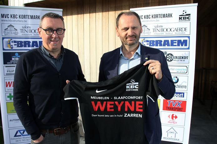 Secretaris Filip Declerck en voorzitter Geert Seynaeve hopen dat KBC Kortemark dit jaar mee doet voor de prijzen.