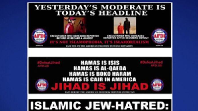 De bovenste anti-islamposter met daarop James Foley (linksboven) is uit het straatbeeld van New York verwijderd.