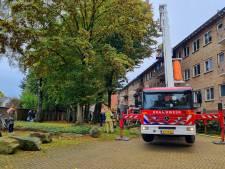 Brand in flat in Veenendaal, brandweer met meerdere voertuigen aanwezig