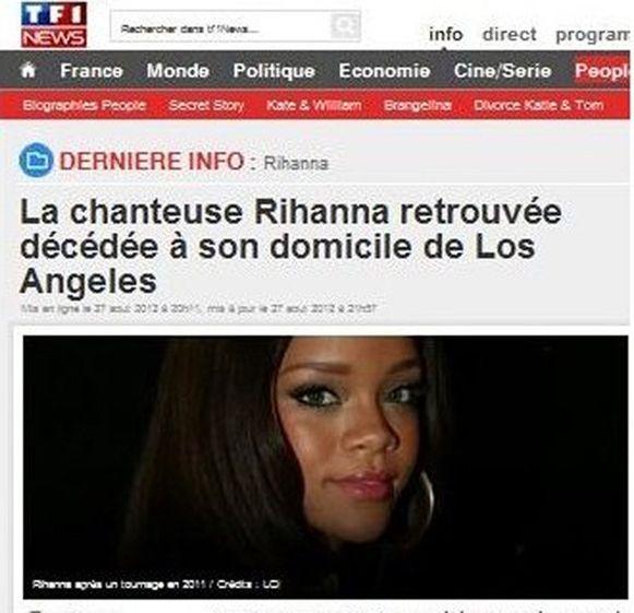 Met deze valse screenshot van nieuwszender TF1, probeerde de grapjas het overlijdensbericht te staven.