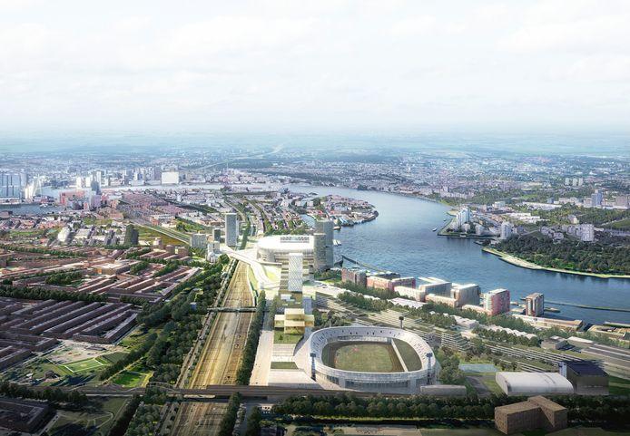 Zicht op Feyenoord City, met vooraan de huidige Kuip en in de verte het nieuwe stadion.