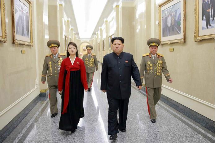 Kim Jong-un en zijn vrouw Ri Sol-ju in 2016.
