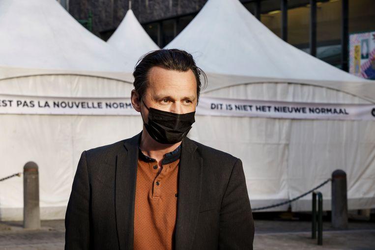 Artistiek leider Michael De Cock: 'Maandenlang werd er niet naar ons geluisterd: werkloze artiesten zitten op hun tandvlees en ook onze ervaring met crowdcontrol werd onvoldoende benut.' Beeld Eric de Mildt