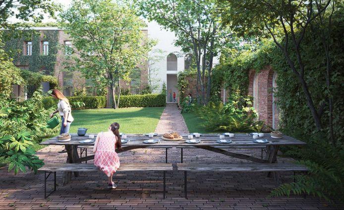 Simulatiebeeld van het cohousingproject Chapel.