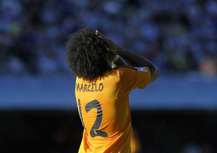 Marcelo en Real Madrid beleefden geen leuke avond in Galicië. Beeld AFP