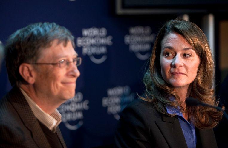 Bill Gates (l) en Melinda Gates in Davos. Beeld Bloomberg via Getty Images