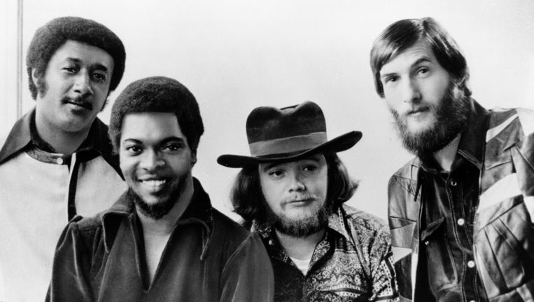 Booker T and the MGs in 1970: Al Jackson, Jr., Booker T. Jones, Donald 'Duck' Dunn, Steve Cropper. Beeld AP