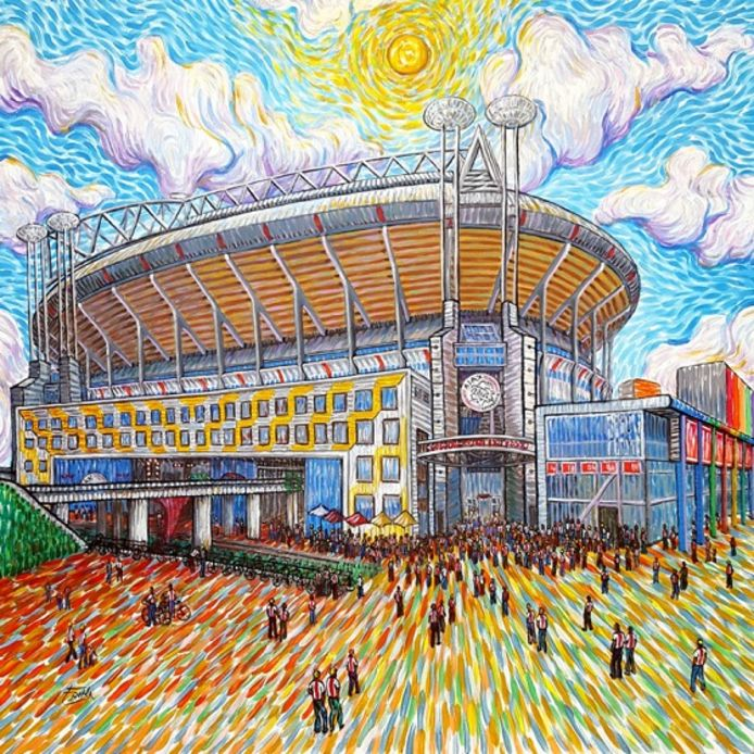 De Johan Cruijff Arena in Amsterdam als schilderij van Van Gogh.