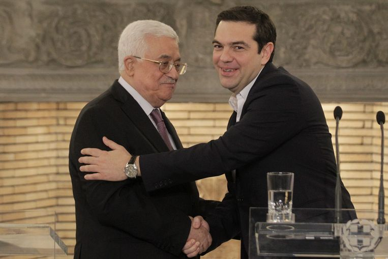 Mahmoud Abbas en Alexis Tsipras. Beeld epa
