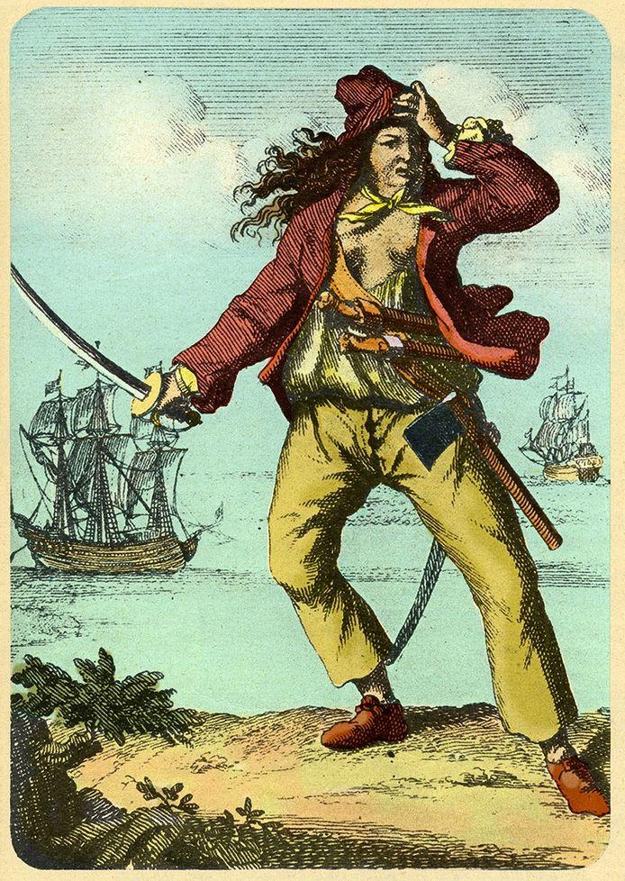 Mary Read, beter bekend als de piraat Bloody Mary. In Breda runde ze een kroeg met de naam De Drie Hoefijzers.