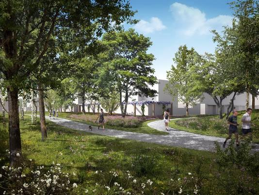 Sfeerimpressie van de nieuwe huizen in het Sesterpark op Uden-Zuid. Mooi in het groen, aldus de wethouder.