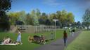 Impressie van het Urban Sport Park 't Schoot aan de Elburglaan/Halvemaanstraat in Eindhoven.