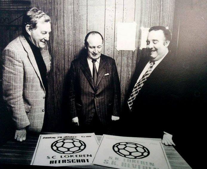Gaston Keppens, Adhemar Goeters en Aloïs Derycker stonden samen met Fiel Laureys (niet op de foto) vijftig jaar geleden aan de wieg van Sporting Lokeren.