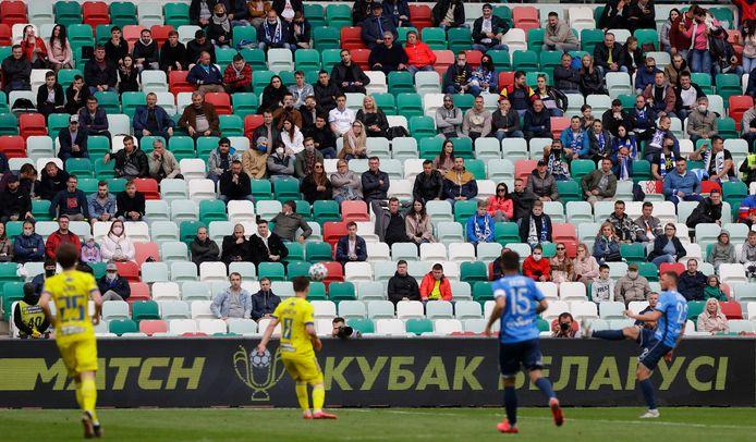 De bekerfinale in Wit-Rusland, BATE Borisov - Dynamo Brest, op 24 mei 2020.