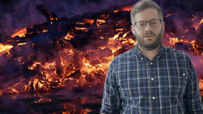 IJslandse Belg maakt machtige beelden vlak bij vulkaankrater