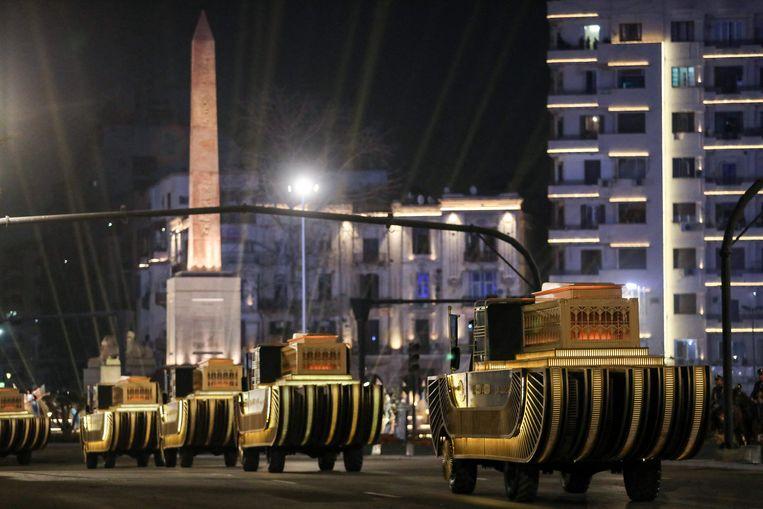 De farao's in de straten van Cairo. Beeld AFP