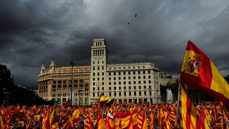 Een demonstratie tegen de Catalaanse onafhankelijkheid in Barcelona, oktober 2012 Beeld AP