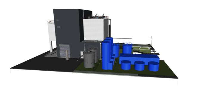 De blauw gekleurde onderdelen  naast het slibgehouw horen bij de nieuwe geurinstallatie op het terrein van de rioolwaterzuivering in Den Bosch die naar verwachting - met een slag om de arm van het waterschap - in augustus in bedrijf is.