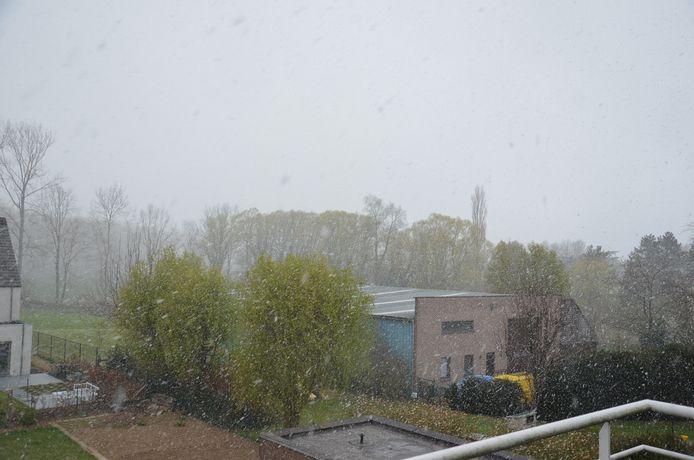 Ook boven Ninove viel er op maandag 5 april sneeuw uit de lucht.