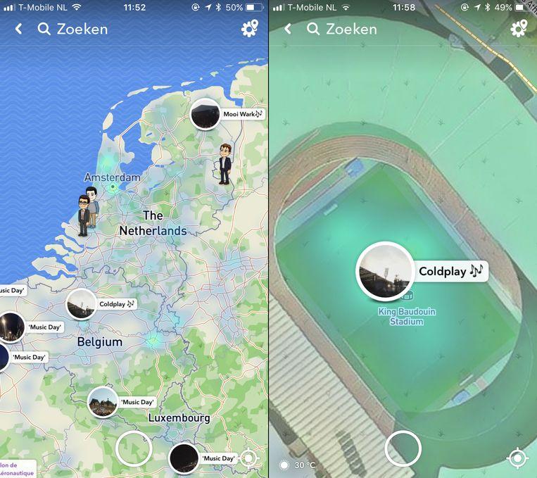 Een screenshot van de 'Snap Map' waarop de beste snaps over het optreden van Coldplay in het Koning Boudewijnstadion worden getoond. Beeld OneMoreThing.nl