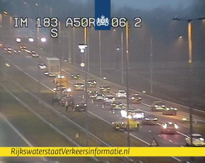 De situatie op de A1 bij knooppunt Beekbergen.