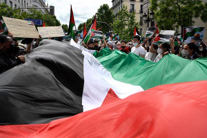 Ook in Madrid werd er vandaag al geprotesteerd (15 mei 2021).