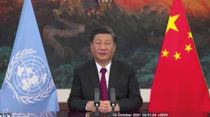 Le président chinois Xi Jinping prononce un discours lors du sommet sur la biodiversité de la COP15 à Kunming, en Chine, le 12 octobre 2021.