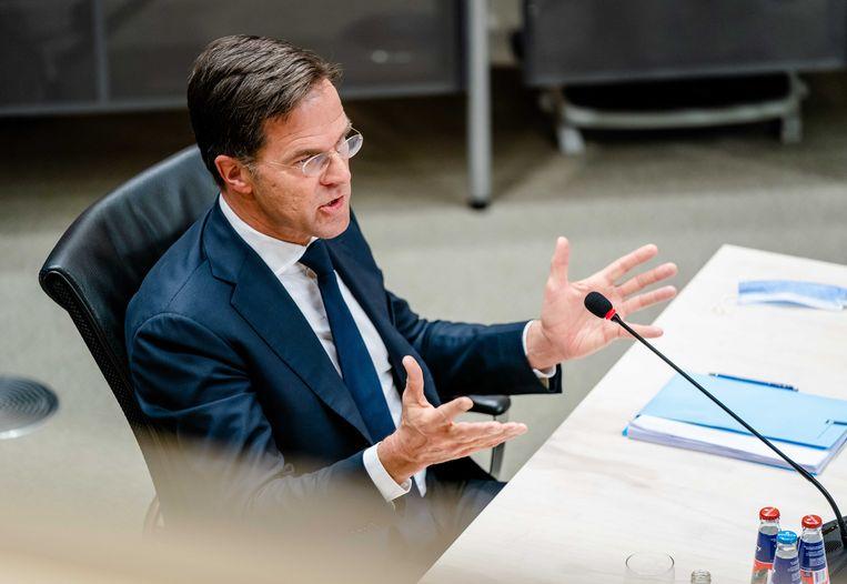 Premier Mark Rutte tijdens de laatste dag van de parlementaire enquêtecommissie Kinderopvangtoeslag. Beeld ANP