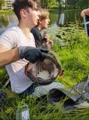 Tristan ving een meerval van 185 centimeter en zo'n 40 kilo in de IJssel