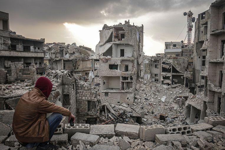 Grote delen van de stad Idlib zijn tijdens de Syrische oorlog verwoest. Beeld Anadolu Agency via Getty Images