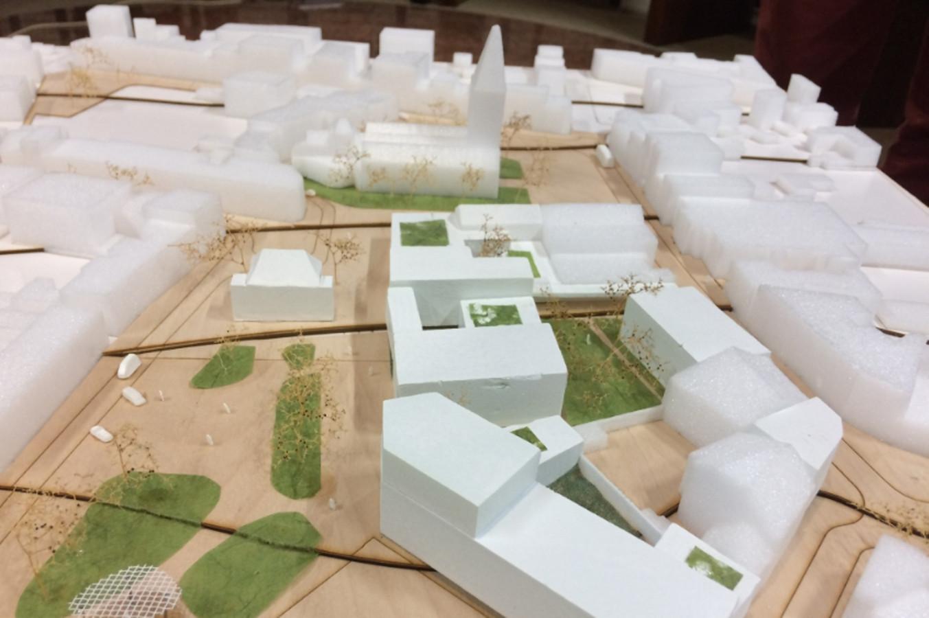Een maquette toont het masterplan voor het nieuwe dienstencentrum en de centrumomgeving van Lede.