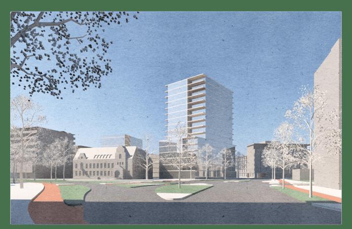 Eerste schets van Bert Dirrix van Diederendirrix Architecten plan voor gebied Diagnostiek voor U aan de Stratumsedijk-PC Hooftlaan in Eindhoven. Het monumentale pand blijft in de plannen van BPD staan, het kantoorgebouw uit de jaren 60 aan de PC Hooftlaan maakt plaats voor nieuwbouw.