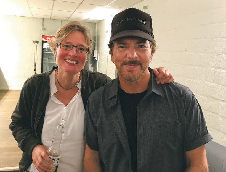 Eddie Vedder en de Nederlandse Valeska. Beeld -