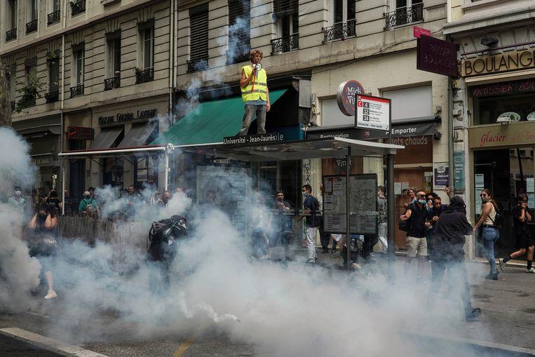Demonstranten zaterdag in Lyon. Beeld AP