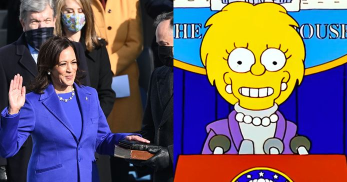 Les tenues de Kamala Harris et Lisa Simpson étrangement semblables.