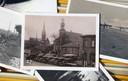 Een paar van de te sparen plaatjes. Op de voorgrond de Markt van Oostburg in 1931 met centraal de Nederlands hervormde kerk en links de rooms katholieke kerk in de Langestraat