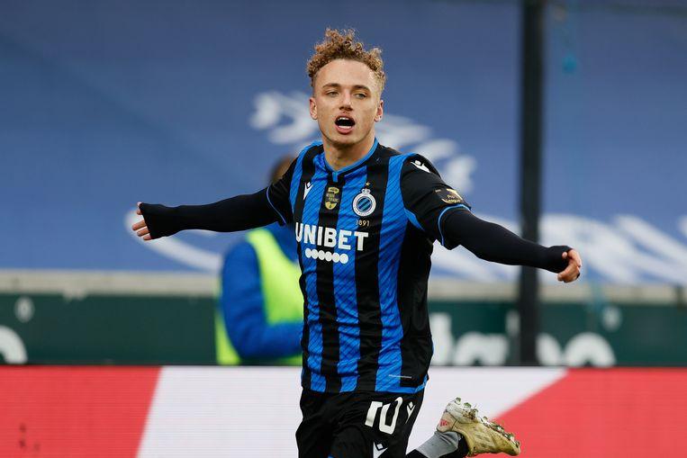 Noa Lang viert een van zijn twee doelpunten namens Club Brugge tegen KAS Eupen. Beeld BELGA