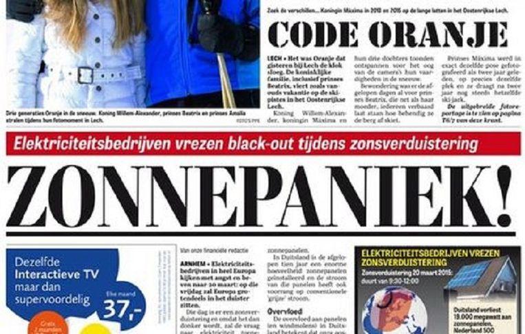 null Beeld Voorpagina Telegraaf