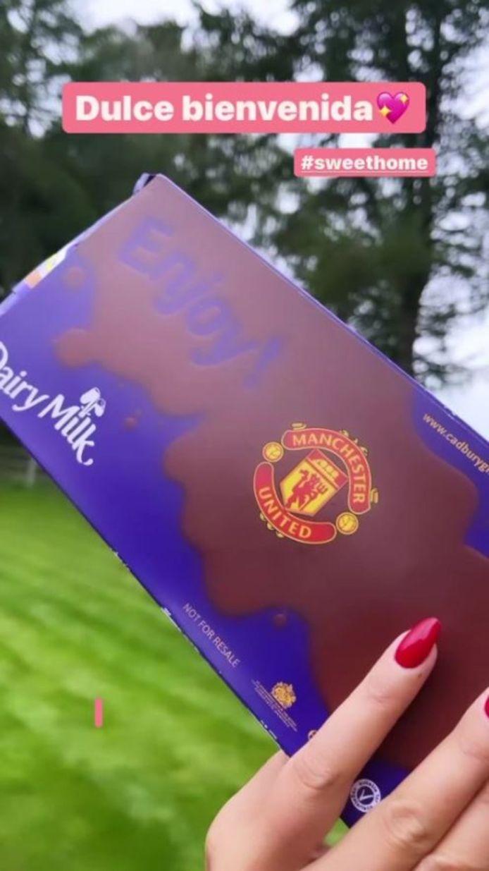 Een welkomstgeschenk van United dat Georgina Rodriguez wel kon smaken.