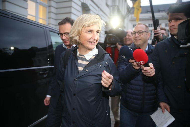 Hilde Crevits (CD&V) zou in de Vlaamse regering willen stappen. Dan blijft de vraag wat voorzitter Beke doet. Beeld Gianni Barbieux