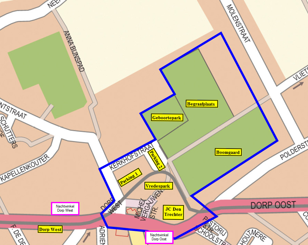 De perimeter is van toepassing in het gebied rond het jeugdhuis, het Vredespark en het geboortepark.