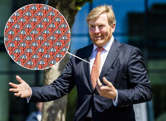 Koning Willem-Alexander. Inzet: de Panoplie Twillbi tie van Hermès.