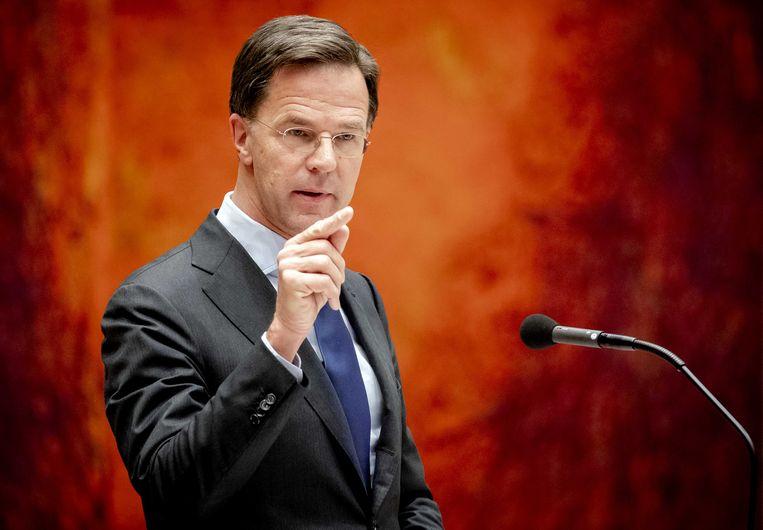 Premier Rutte tijdens het debat in de Tweede Kamer over de bestrijding van het coronavirus. Beeld ANP