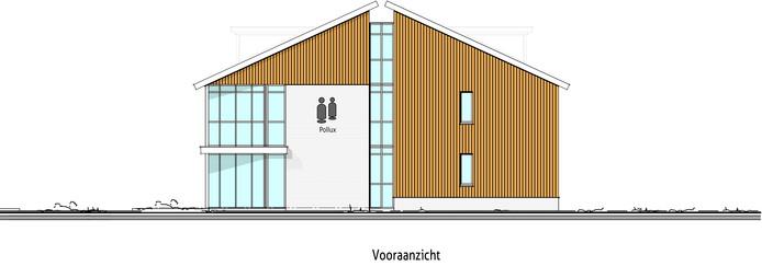 Het vooraanzicht van de huisvesting van Pollux op Zonneland in Nispen .