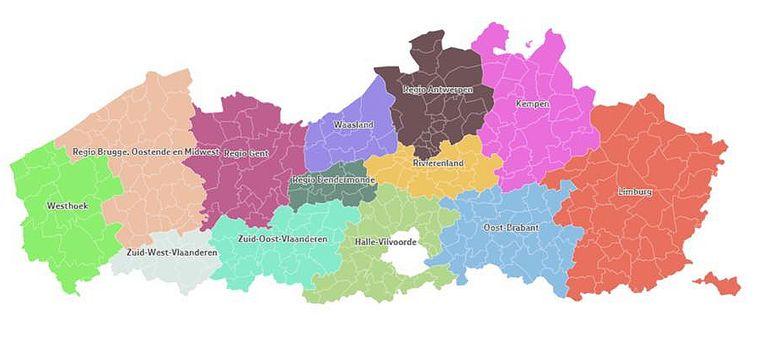 Vlaanderen wordt opgedeeld in 13 regio's, binnen elke regio zijn samenwerkingsverbanden mogelijk, erbuiten moeilijker. Beeld Facebook