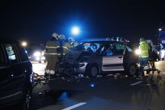 Een van de auto's die betrokken was bij het ongeluk op de A77.