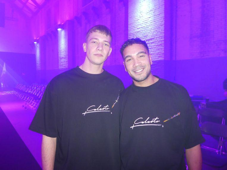 Ontwerpers Didier Berger en Mick Miller, meteen na de show. Nog voorkeuren wie nog meer op de foto moet? Berger: