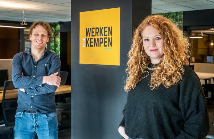 Sem van den Borne en Lieke van Loon van Werken in de Kempen organiseren digitale bedrijfsdagen.