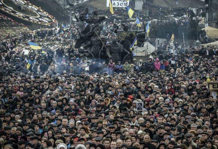 Anti-Russische betoging vorige maand in Kiev. Beeld afp