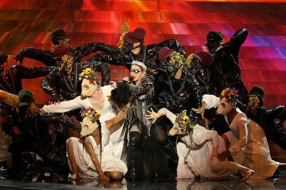 Madonna op het Eurovisiesongfestival 2019.